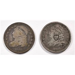 2-1831 BUST DIMES: 1 - VG & 1- FINE WITH HEART COUNTERSTAMP