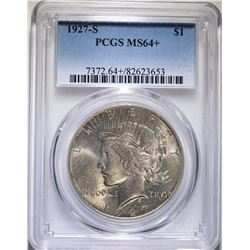 1927-S PEACE SILVER DOLLAR, PCGS MS-64+