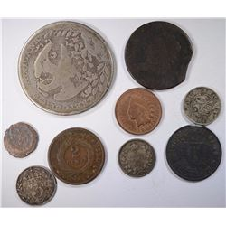Bag of 8 Coins; 1919 Brazil, 1915 & 1918 Canada 5c, Ancient Coin, Tax Token,