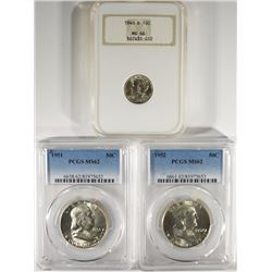 1940-D MERCURY DIME NGC MS66, 1951 & 1952 FRANKLIN HALF DOLLARS PCGS MS62