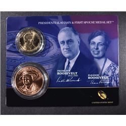 2014 Franklin and Eleanor Roosevelt Presidential $1 Coin & First Spouse Medal
