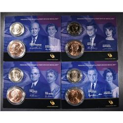 4 - 2014 Presidential $1 Coin & First Spouse Medal Sets; KENNEDY, EISENHOWER,