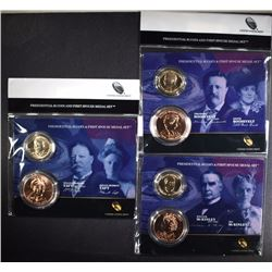 3 - 2013 Presidential $1 Coin and First Spouse Medal Sets; ROOSEVELT, McKINLEY,