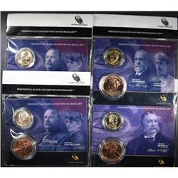 4- 2012 Presidential $1 Coin and Frist Spouse Medal Set; ARTHUR, HARRISON