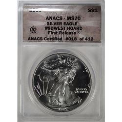 1989 AMERICAN SILVER EAGLE ANACS MS70  - MID WEST HOARD, 1st RELEASE #018 of 412