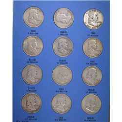 NICE COMPLETE SET FRANKLIN HALF DOLLAR SET 1948-1963 with A FEW BU in ALBUM
