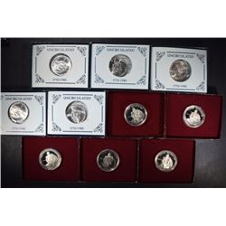 ( 5 ) PROOF & ( 5 ) UNC 1982 90% SILVER WASHINGTON HALVES IN ORIG BOXES/COA