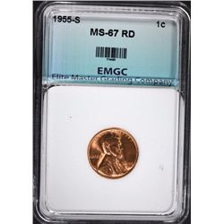 1955-S LINCOLN CENT, EMGC SUPERB GEM BU RED