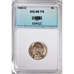 1950-D JEFFERSON NICKEL, EMGC SUPERB GEM BU  FULL STEPS