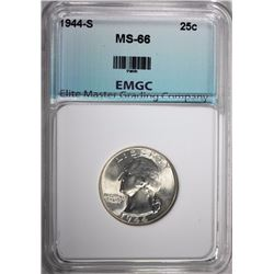 1944-S WASHINGTON QUARTER, EMGC SUPERB GEM BU