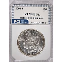 1900-S MORGAN SILVER DOLLAR, PCI CHOICE BU PROOF-LIKE