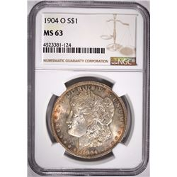1904-O MORGAN SILVER DOLLAR, NGC MS-63