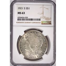 1921-S MORGAN SILVER DOLLAR, NGC MS-63