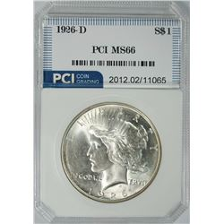1926-D PEACE SILVER DOLLAR, PCI SUPERB GEM BU