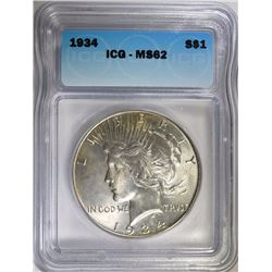 1934 PEACE SILVER DOLLAR, ICG MS-62