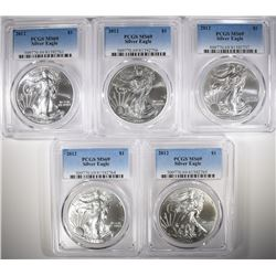 ( 5 ) 2012 AMERICAN SILVER EAGLES, PCGS MS-69