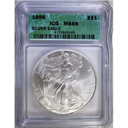 1996 AMERICAN SILVER EAGLE, ICG MS-69  KEY DATE