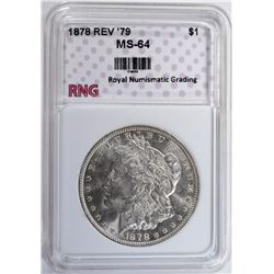 1878 REV '79 MORGAN SILVER DOLLAR RNG CH BU
