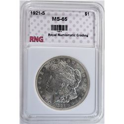 1921-S MORGAN SILVER DOLLAR RNG GEM BU