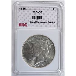 1935 PEACE SILVER DOLLAR RNG GEM BU