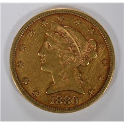 1880 $5.00 GOLD LIBERTY, XF