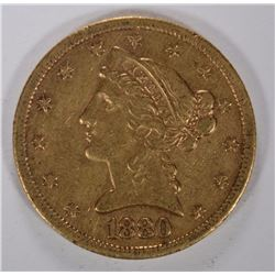 1880-S $5.00 GOLD LIBERTY, XF