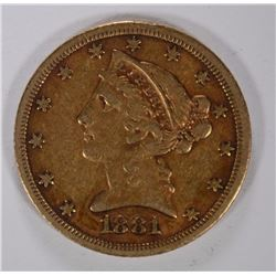 1881 $5.00 GOLD LIBERTY, XF
