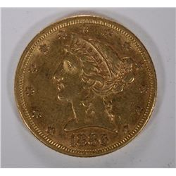 1886 $5.00 GOLD LIBERTY, XF