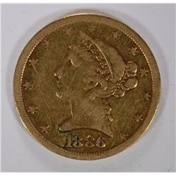 1886-S $5.00 GOLD LIBERTY, XF