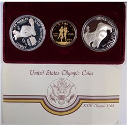 1984 OLYMPIC 3-PIECE PROOF SET: $10.00 GOLD & 2-SILVER DOLLARS WITH CERTS