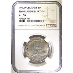 1930D SILVER 3 MARKS WEIMAR REPUBLIC GERMANY NGC AU 58