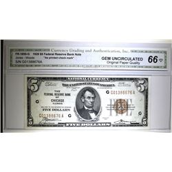 1929 $5 FEDERAL RESERVE BANK NOTE CHICAGO CGA 66-OPQ