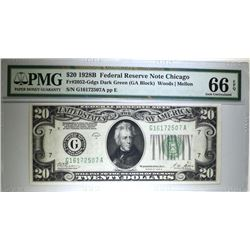 1928B FEDERAL RESERVE NOTE CHICAGO FR#2052 DARK GREEN SEAL PMG 66EPQ