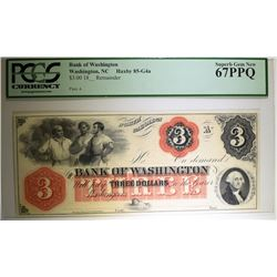 1800's $3.00 BANK OF WASHINGTON NORTH CAROLINA PCGS 67PPQ  RARE IN THIS GRADE