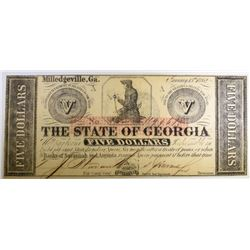 1862 $5.00 STATE OF GEORGIA FULLY ISSUED CIVIL WAR CH.CU