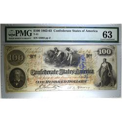 1862-63 $100 CONFEDERATE STATES OF AMERICA T-41 PMG 63  (MINOR EDGE DAMAGE)