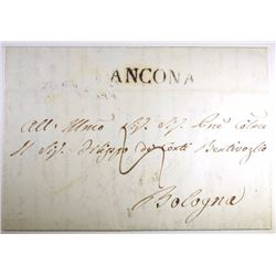 1844 POSTAL HISTORY COVER w/LARGE BOLOGNA ITALY (19 FEB. 1844) CANCELLATION &