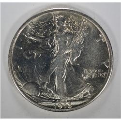 1918-S WALKING LIBERTY HALF DOLLAR - CHOICE BU