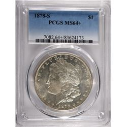 1878-S MORGAN SILVER DOLLAR PCGS MS64+