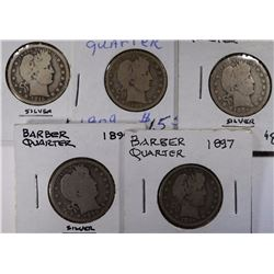 5 - DIFF BARBER QUARTERS plus 11 - DIFF INDIAN HEAD CENTS