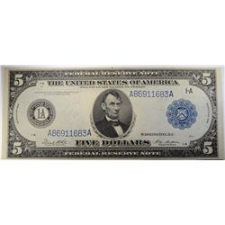 1914 $5.00 FEDERAL RESERVE NOTE  LINCOLN BEAUTIFUL  AU/UNC