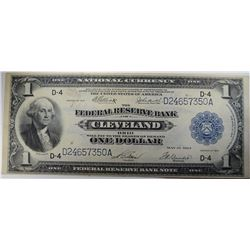 1918 $1.00 FEDERAL RESERVE BANK NOTE ( CLEVELAND )   BEAUTIFUL AU/UNC