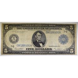 "1914 $5.00 FEDERAL RESERVE NOTE "" LINCOLN PORTHOLE "" - CIRC FINE"