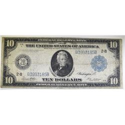 "1914 $10.00 FEDERAL RESERVE NOTE - "" JACKSON "" NICE CIRC"
