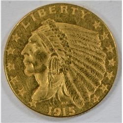 1915 $2.50 GOLD INDIAN, XF/AU