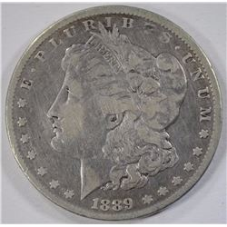 1889-CC MORGAN SILVER DOLLAR, FINE  KEY COIN
