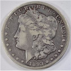 1893-CC MORGAN SILVER DOLLAR, NICE FINE+ KEY