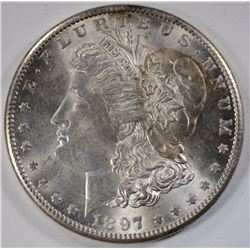 1897-S MORGAN SILVER DOLLAR, CHOICE BU
