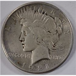 1921 PEACE SILVER DOLLAR, VF/XF KEY DATE