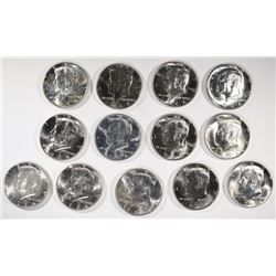 ( 13 ) GEM BU KENNEDY HALF DOLLARS: 1964 OR 1964-D